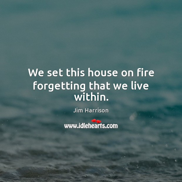 We set this house on fire forgetting that we live within. Jim Harrison Picture Quote