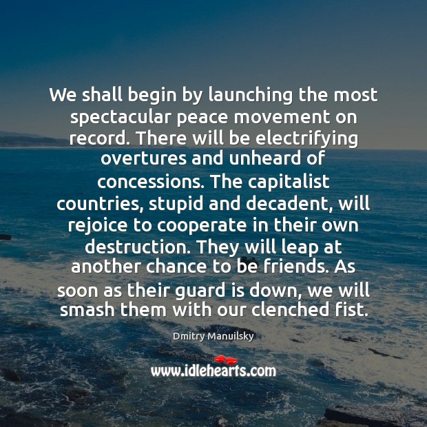 We shall begin by launching the most spectacular peace movement on record. Cooperate Quotes Image