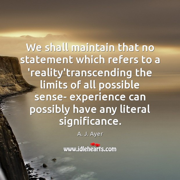 Image, We shall maintain that no statement which refers to a 'reality'transcending the