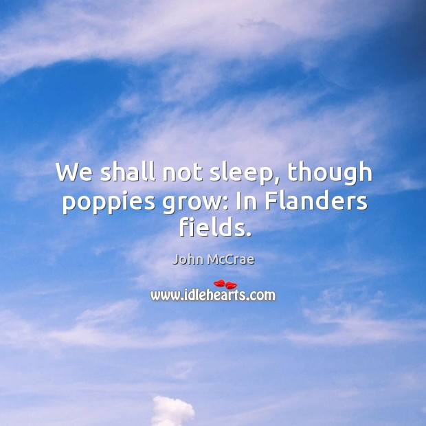 We shall not sleep, though poppies grow: in flanders fields. Image