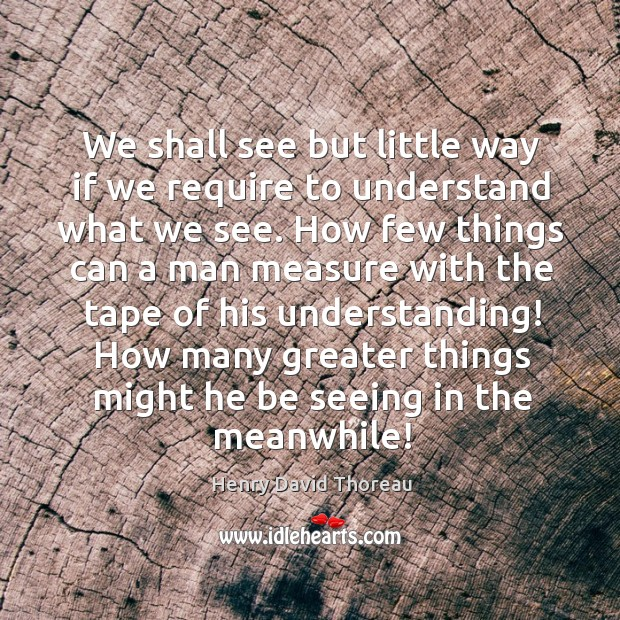 We shall see but little way if we require to understand what we see. Image