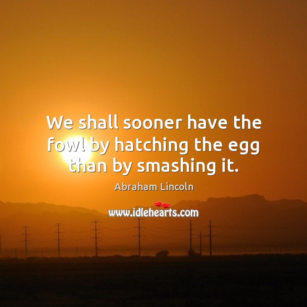 Image, We shall sooner have the fowl by hatching the egg than by smashing it.