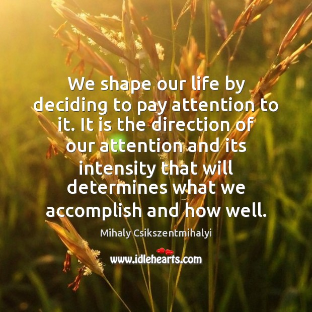 Image, We shape our life by deciding to pay attention to it. It