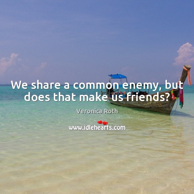 We share a common enemy, but does that make us friends? Image