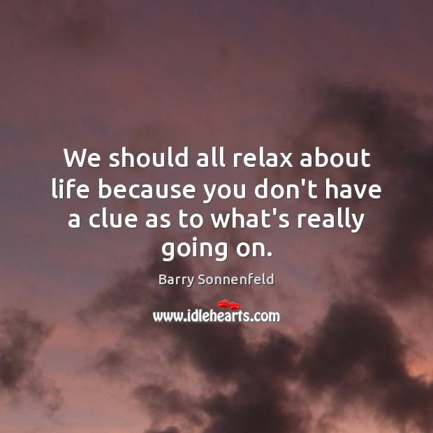 Image, We should all relax about life because you don't have a clue as to what's really going on.