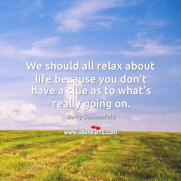 We should all relax about life because you don't have a clue as to what's really going on. Image