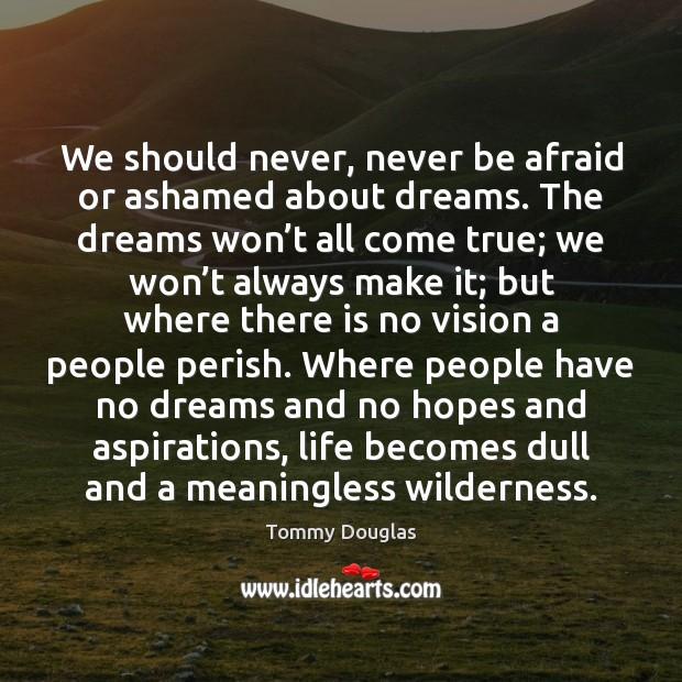 We should never, never be afraid or ashamed about dreams. The dreams Never Be Afraid Quotes Image