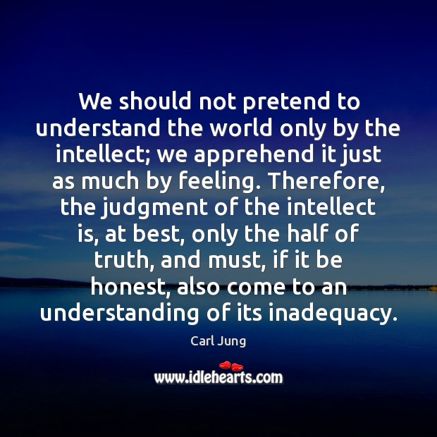 Image, We should not pretend to understand the world only by the intellect;
