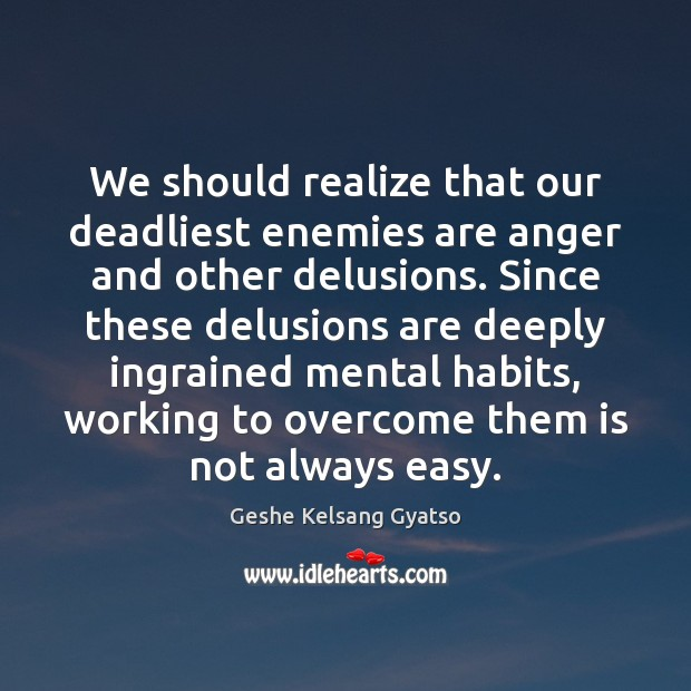 We should realize that our deadliest enemies are anger and other delusions. Geshe Kelsang Gyatso Picture Quote