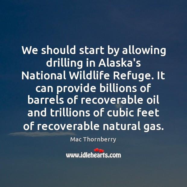 We should start by allowing drilling in Alaska's National Wildlife Refuge. It Image