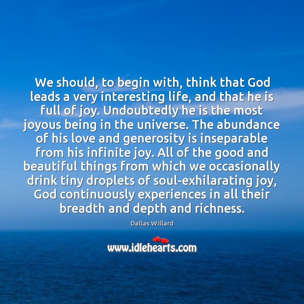 We should, to begin with, think that God leads a very interesting Image