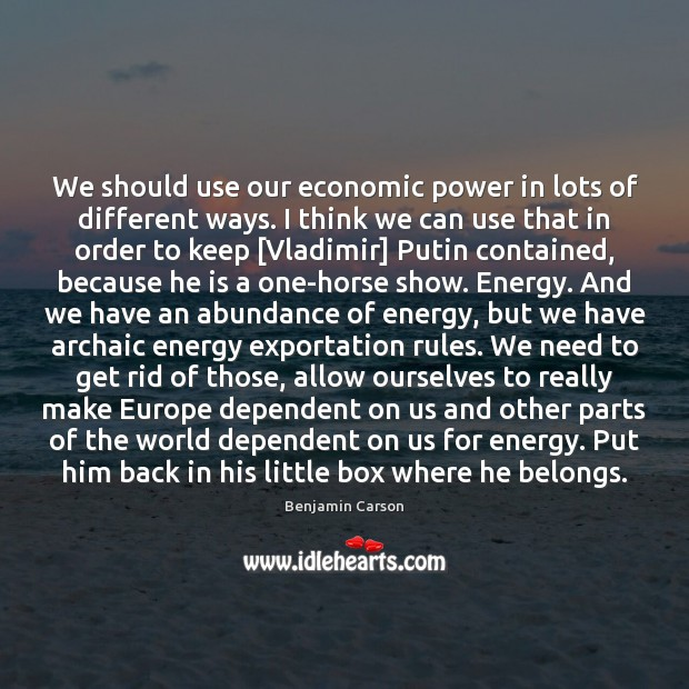 We should use our economic power in lots of different ways. I Benjamin Carson Picture Quote
