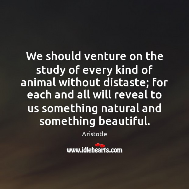 We should venture on the study of every kind of animal without Image