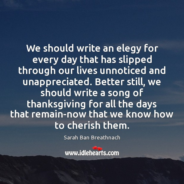 We should write an elegy for every day that has slipped through Sarah Ban Breathnach Picture Quote