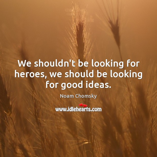 We shouldn't be looking for heroes, we should be looking for good ideas. Image