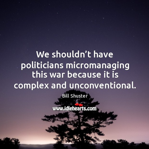 Image, We shouldn't have politicians micromanaging this war because it is complex and unconventional.