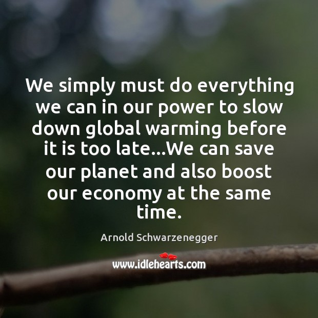 We simply must do everything we can in our power to slow Arnold Schwarzenegger Picture Quote