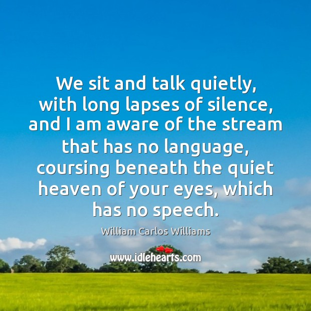 We sit and talk quietly, with long lapses of silence, and I William Carlos Williams Picture Quote
