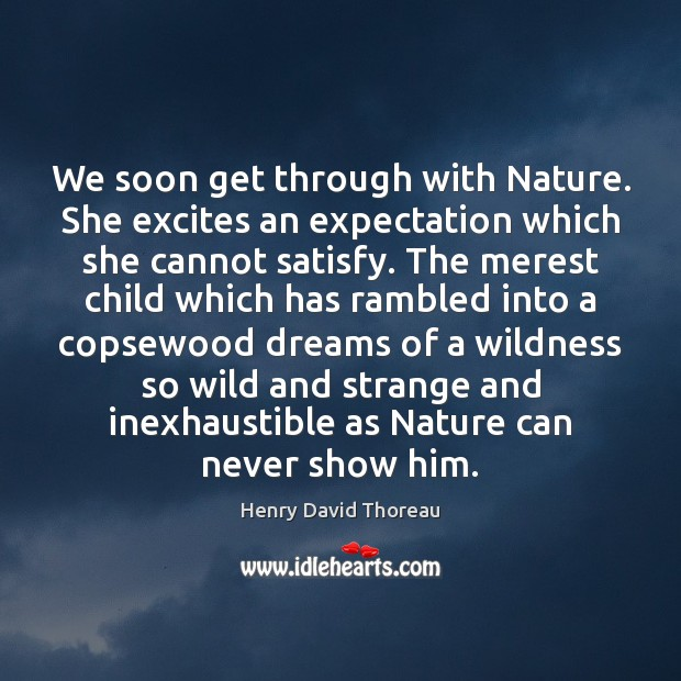 We soon get through with Nature. She excites an expectation which she Image
