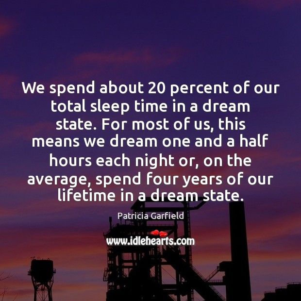 We spend about 20 percent of our total sleep time in a dream Image