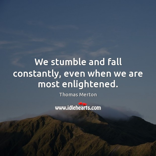 Image, We stumble and fall constantly, even when we are most enlightened.