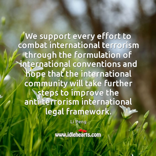 We support every effort to combat international terrorism through the formulation of Li Peng Picture Quote