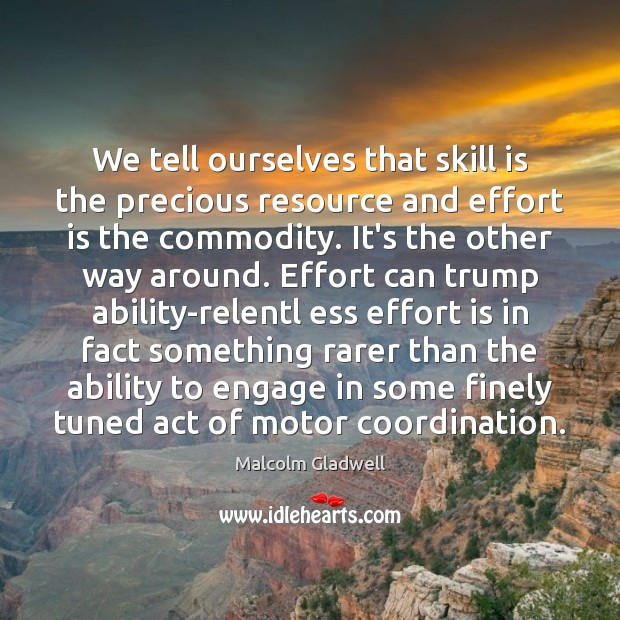 We tell ourselves that skill is the precious resource and effort is Image