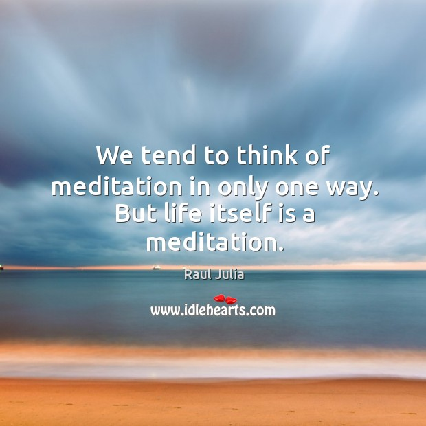 We tend to think of meditation in only one way. But life itself is a meditation. Raul Julia Picture Quote