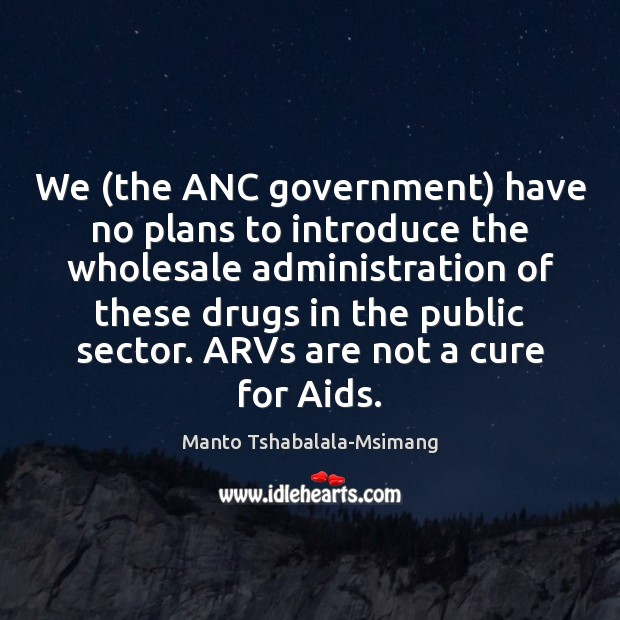 We (the ANC government) have no plans to introduce the wholesale administration Image