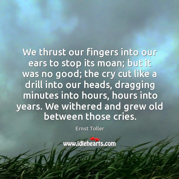 We thrust our fingers into our ears to stop its moan; but it was no good Image