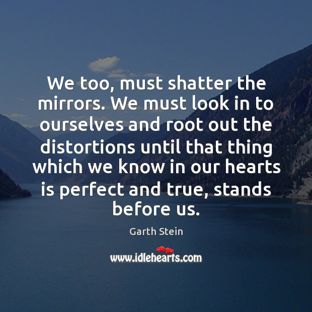 We too, must shatter the mirrors. We must look in to ourselves Garth Stein Picture Quote