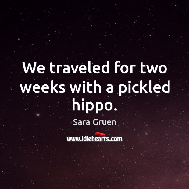 We traveled for two weeks with a pickled hippo. Sara Gruen Picture Quote