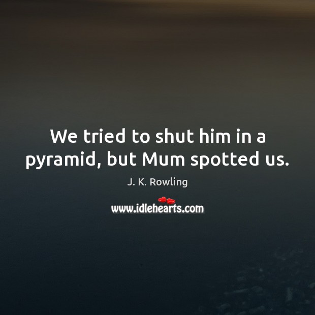 We tried to shut him in a pyramid, but Mum spotted us. Image