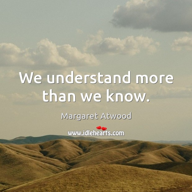 Image, We understand more than we know.