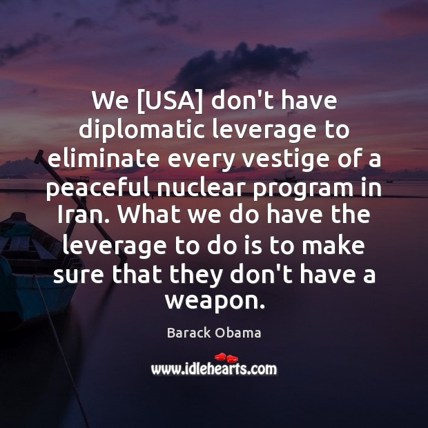 Image, We [USA] don't have diplomatic leverage to eliminate every vestige of a