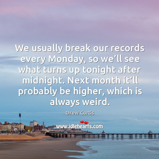 We usually break our records every monday, so we'll see what turns up tonight after midnight. Drew Curtis Picture Quote