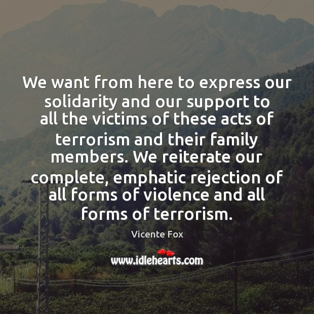 We want from here to express our solidarity and our support to Image