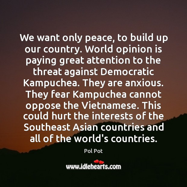We want only peace, to build up our country. World opinion is Pol Pot Picture Quote