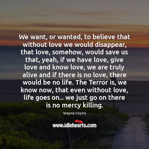 We want, or wanted, to believe that without love we would disappear, Wayne Coyne Picture Quote
