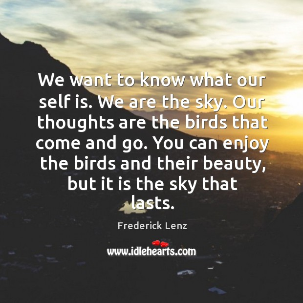 We want to know what our self is. We are the sky. Image