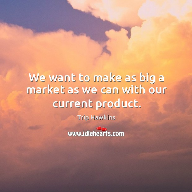 We want to make as big a market as we can with our current product. Trip Hawkins Picture Quote