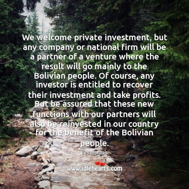 We welcome private investment, but any company or national firm will be Image