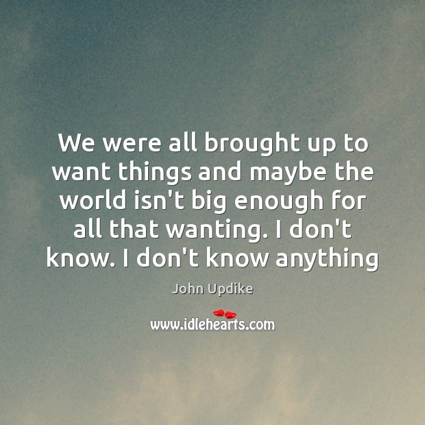 We were all brought up to want things and maybe the world John Updike Picture Quote