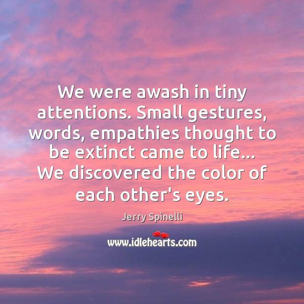 We were awash in tiny attentions. Small gestures, words, empathies thought to Jerry Spinelli Picture Quote