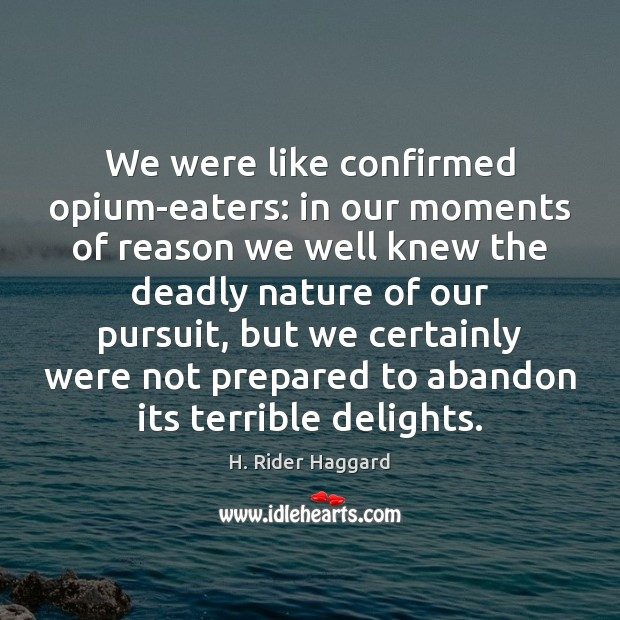 We were like confirmed opium-eaters: in our moments of reason we well H. Rider Haggard Picture Quote