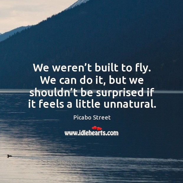 We weren't built to fly. We can do it, but we shouldn't be surprised if it feels a little unnatural. Image