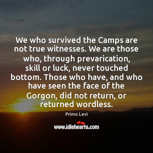 We who survived the Camps are not true witnesses. We are those Primo Levi Picture Quote