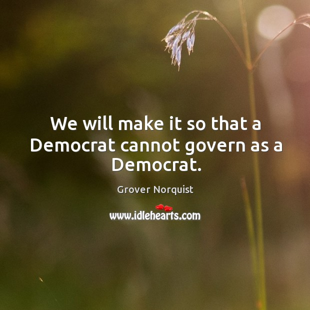 We will make it so that a Democrat cannot govern as a Democrat. Grover Norquist Picture Quote