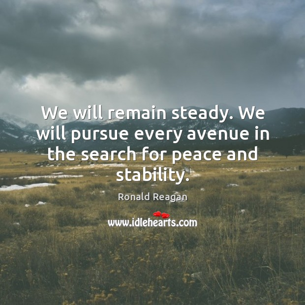 Image, We will remain steady. We will pursue every avenue in the search for peace and stability.