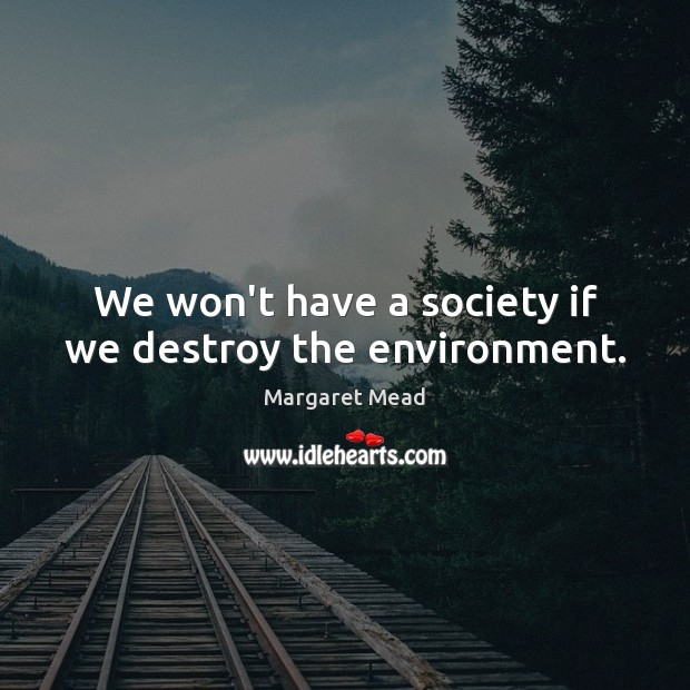 We won't have a society if we destroy the environment. Margaret Mead Picture Quote